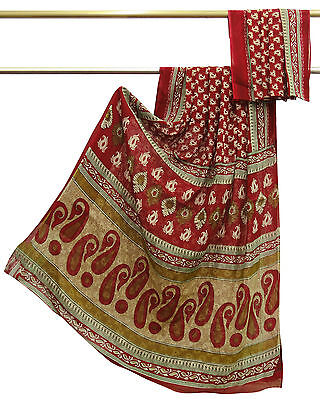 Vintage Indian Saree 100% Pure Cotton Red Paisley Printed Sari Craft Fabric 5YD