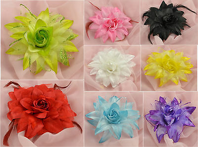 "5.5"" Or 6"" Large Silk Look Lily Leafed Rose Flower With Brooch Pin And Hairclip"