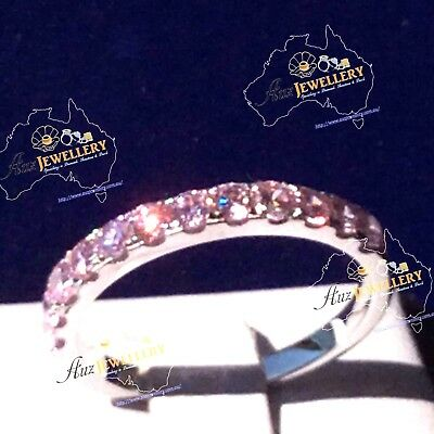 Half Eternity Created Pink Diamond Real 925 Silver Stackable Wedding Ring Band