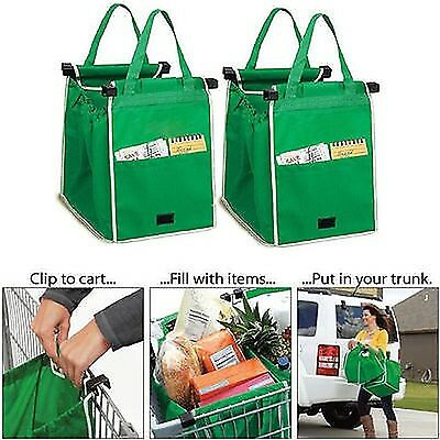 Reusable Large Trolley Clip-To-Cart Grocery Shopping Bags Portable Green Clot...