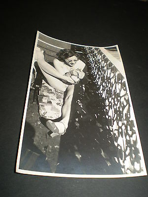 social history 1930's glamour lady trying to suck her toe photo rp postcard