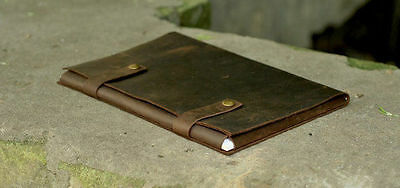 Brown Leather case folder office supplies paper real handmade A4 documents