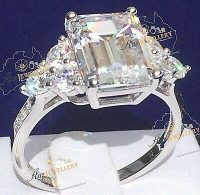 Stunning 7ct Emerald Cut Simulated Diamond Real 925 Solid Silver Engagement Ring