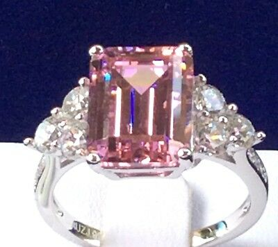 Pink Diamond: 7ct Emerald Cut Simulated Pink Diamond Engagement Ring 925 Silver