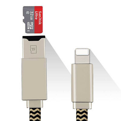 Lightning Charger Cable Micro SD / TF Card Reader For iPhone 5 6 7 iPad Pro Mini