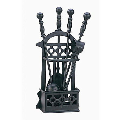 Victorian Black Cast Iron Fireplace Companion Set - Fire Stand & Accessories