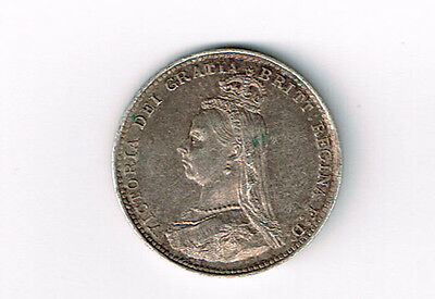 Great Britain 1887 3 Pence Queen Victoria Sterling Silver Coin