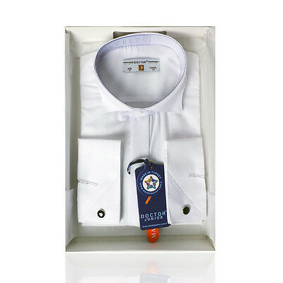 Boys Premium Wing Collar White Cufflink Shirt Boy Kids Classic Shirt