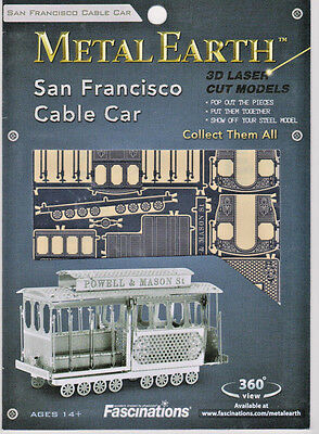 Metal Earth SAN FRANCISCO CABLE CAR Laser Cut 3D Model Kit- NEW -FREE SHIPPING