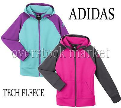 New Adidas Girls Tech Fleece Climawarm Full Zip Hoodie! Variety Colors/sizes