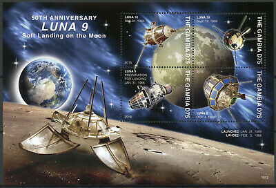 Gambia 2016 MNH LUNA 9 Soft Landing on Moon 50th Anniv 4v M/S Space Stamps