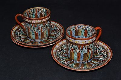 Antique Japanese Kutani Thousand Faces (2) Demi Tasse Cups & Saucers     ND3205a