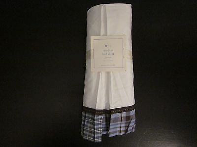 Pottery Barn Kids/Baby Boys Madras Crib Bed Skirt Blue, Brown, & White Plaid New