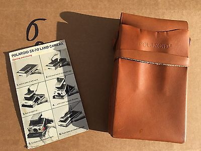 Vintage Polaroid Sx-70 Camera Leather Case With Original Instructions