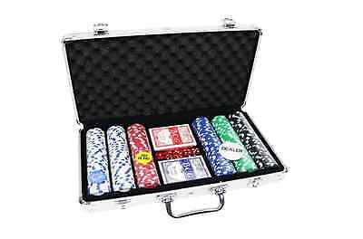 Oypla Texas-Hold'em Card Game 300 Piece Poker Chip Set in Aluminium Case