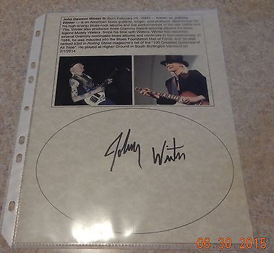 Johnny Winter (d.2014) Signed Photo Sheet Autographed Blues Rock Guitar ~Top 100