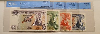 Mauritius - Lot of 5 , 10 , 25 and 50 Rupees Specimen Banknotes - UNC