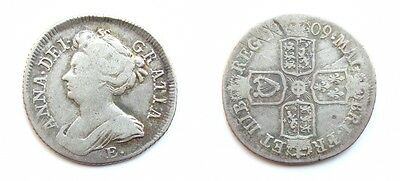 Queen Anne 1709 E * Silver Shilling - Very Rare