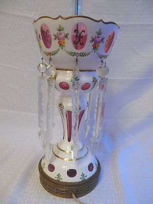 """Czech Bohemian White Cut to Cranberry Glass Lamp w/ Lusters 19"""""""