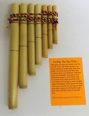 "Pan Pipes Flute In Bamboo 7 Pipes Hand Made Peru For Beginners 4"" X 7 1/2"""
