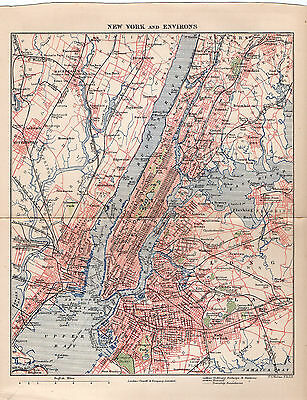 Map of New York & Environs 1906 Print   ref B1