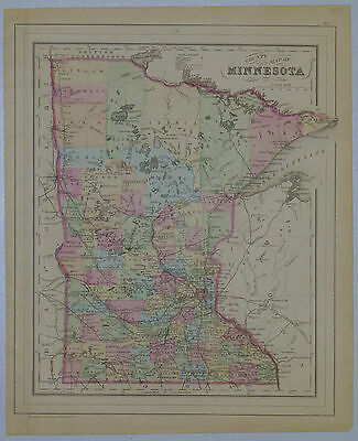 1884 Genuine Antique Map of Minnesota counties. Hand colored. A Mitchell
