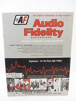 "vintage Audio Fidelity Records CATALOG  1959 or 1960 - 12 pages 8"" x 11"""