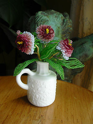 vintage FRENCH beaded GLASS FLOWERS in antique MILK GLASS VASE