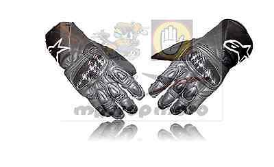 MOTO guanti PELLE protezioni Alpinestars SP-2 nero GLOVES tg.S leather SCHOELLER