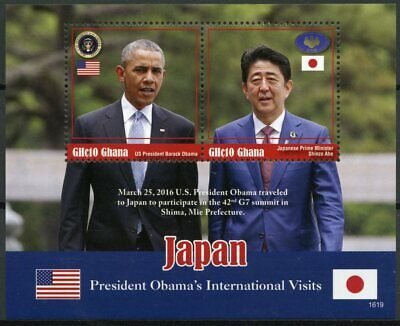Ghana 2016 MNH Barack Obama Visits Japan 2v S/S Shinzo Abe US Presidents Stamps