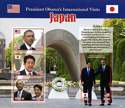 Ghana 2016 MNH Barack Obama Visits Japan 4v M/S Shinzo Abe US Presidents Stamps