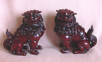 FENG SHUI RED RESIN , PAIR OF  FU DOGS / TEMPLE LIONS.  Rosewood Colour Resin