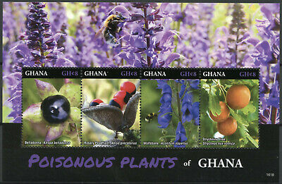 Ghana 2016 MNH Poisonous Plants 4v M/S Wolfsbane Strychnine Tree Trees Stamps