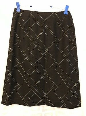 Folio Black, Blue Yellow Gold Plaid Wool Blend Lined Skirt Size 4