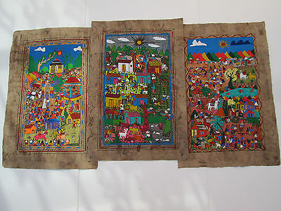 3 AMATE BARK PAINTING SET native ethnic mexican folk art hand painted wholesale