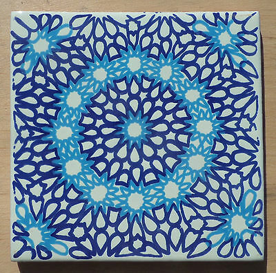 """12~Talavera Mexican tile pottery handpainted 6"""" Turquoise Cream Blue Cobalt"""