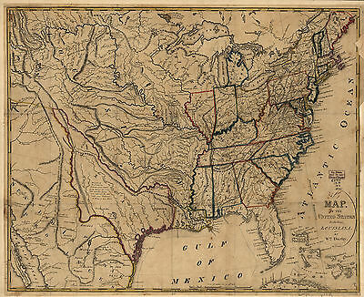 """1818 MAP of Eastern United States, America History, antique, vintage, 16""""x13"""""""
