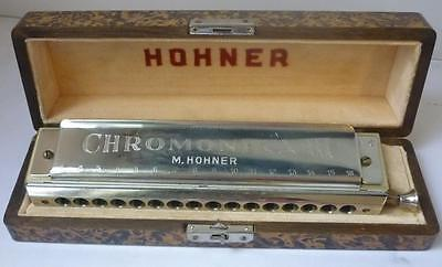 M.Hohner III Circa 1937 Burl Walnut Harmonica with wood case Scale C Rare