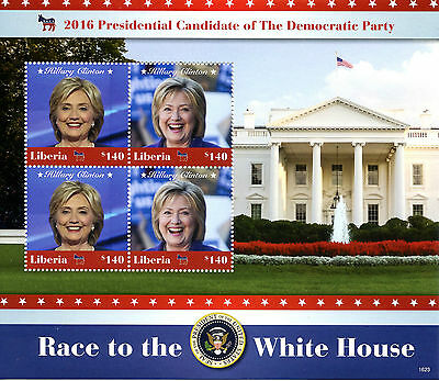 Liberia 2016 MNH Hillary Clinton Democratic Party 4v M/S US Presidents Stamps