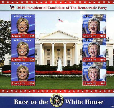 Liberia 2016 MNH Hillary Clinton Democratic Party 6v M/S US Presidents Stamps