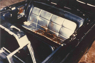 Back seat of John Kennedy's limousine limo at the White House Garage Nov 23, 63