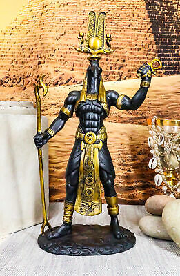 "Egyptian Ibis Headed Thoth Holding Was And Ankh 12"" Statue Magic Technology"