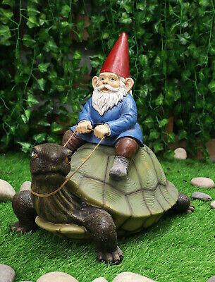 "Large 17.25"" Long Whimsical Mr Gnome On Giant Turtle Ride Decorative Statue"