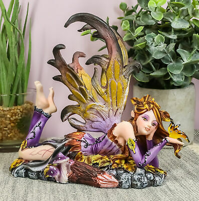 """Purple Fairy with Gold Butterfly Collectible Figurine Decor 6.25""""L Statue"""