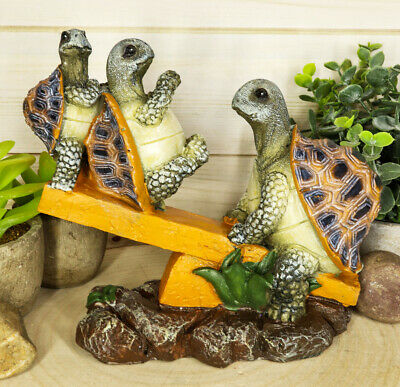 "Collectibles Mother Turtle Playing With Her Babies On Forest Seesaw Figurine 7""L"