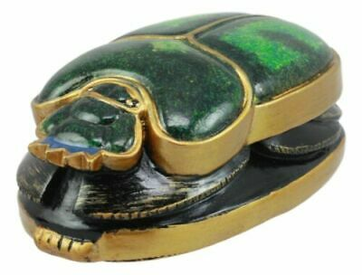 Summit Egyptian Beautiful Green Scarab Amulet Symbol of Rebirth Figurine Statue