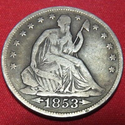 1853 50C Arrows And Rays Liberty Seated Half Dollar Type Coin Circulated Fine