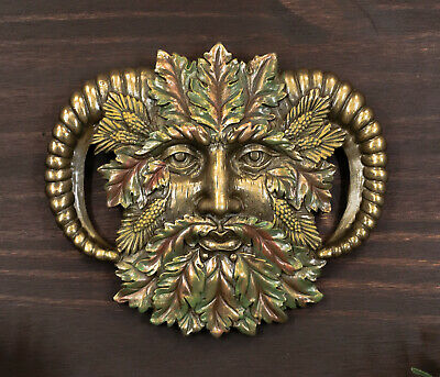 Bronzed Fall Autumn Leaves Horned Greenman Pan Wall Decor Plaque Sculpture