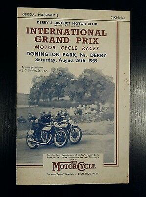 Donington Park international Grand Prix Motorcycle Racing Programme August 1939
