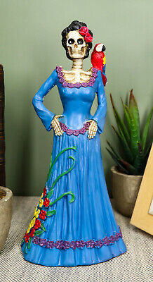 Day of The Dead Dod Blue Lady Figurine with Parrot by Summit Skeleton